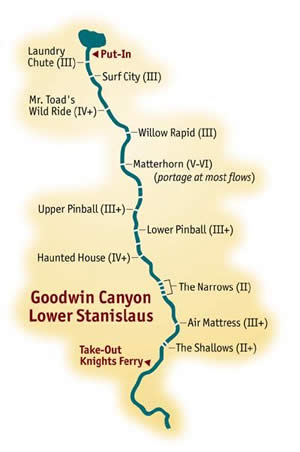 Middle Fork American River Rafting Map